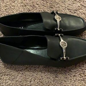 Never worn black leather loafers DKNY